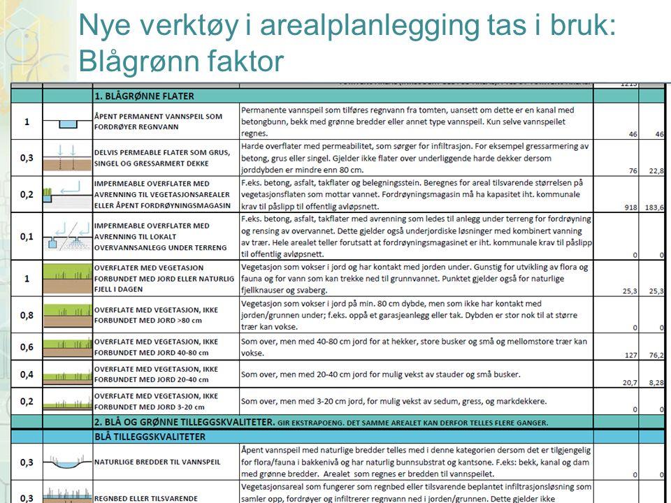 Nye verktøy i arealplanlegging tas i bruk: Blågrønn faktor