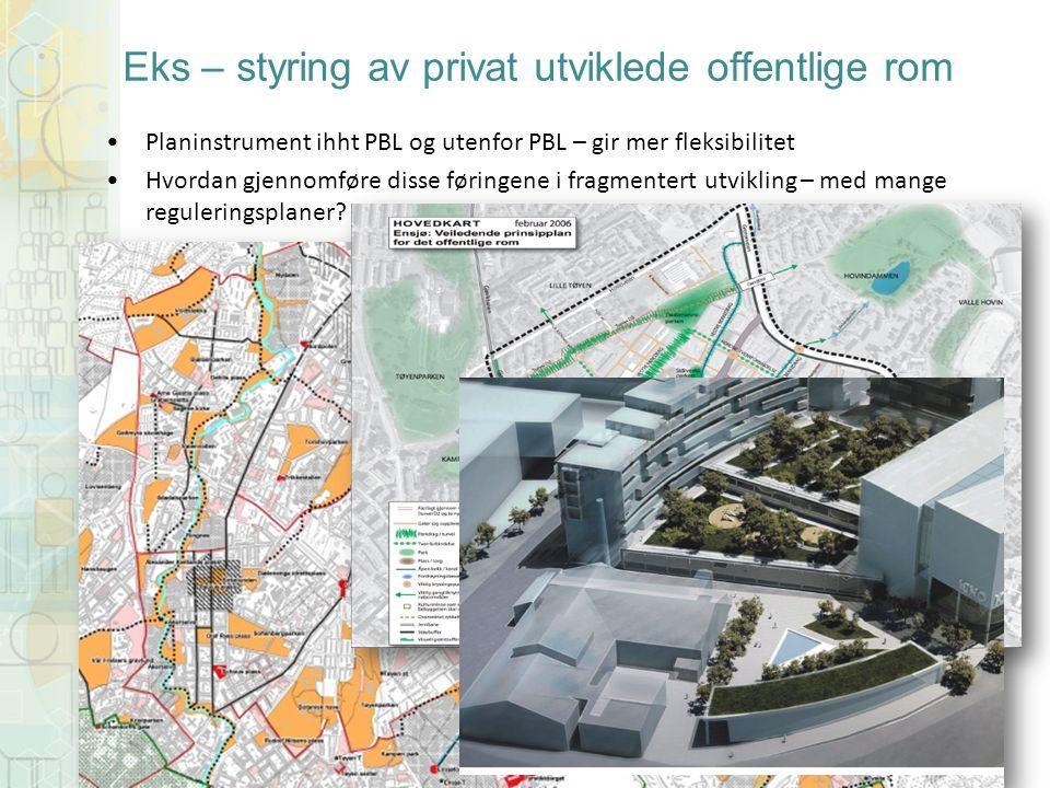 Eks – styring av privat utviklede offentlige rom Planinstrument ihht PBL og utenfor PBL – gir mer fleksibilitet Hvordan gjennomføre disse føringene i fragmentert utvikling – med mange reguleringsplaner