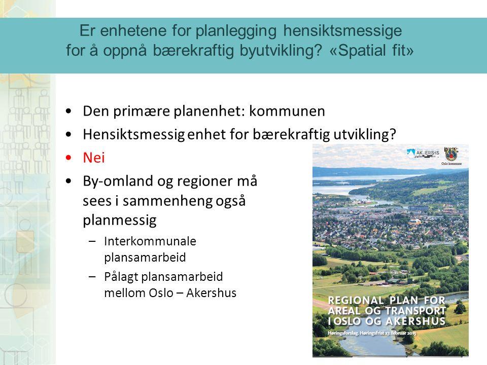 Den primære planenhet: kommunen Hensiktsmessig enhet for bærekraftig utvikling.