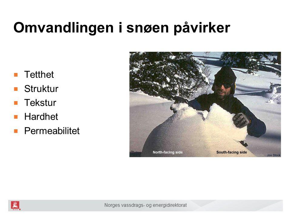 Norges vassdrags- og energidirektorat Omvandlingen i snøen påvirker ■ Tetthet ■ Struktur ■ Tekstur ■ Hardhet ■ Permeabilitet