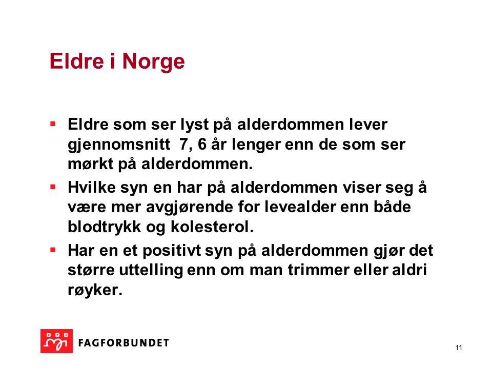 11 Eldre i Norge  Eldre som ser lyst på alderdommen lever gjennomsnitt 7, 6 år lenger enn de som ser mørkt på alderdommen.  Hvilke syn en har på ald