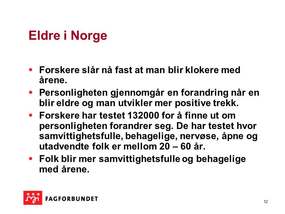 12 Eldre i Norge  Forskere slår nå fast at man blir klokere med årene.  Personligheten gjennomgår en forandring når en blir eldre og man utvikler me