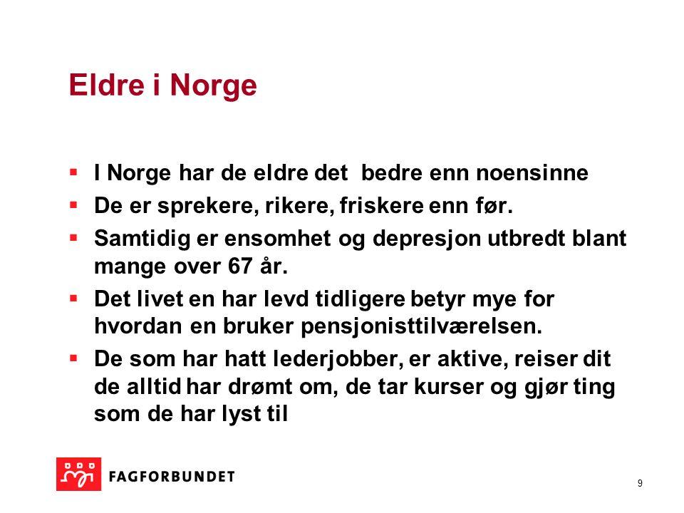 9 Eldre i Norge  I Norge har de eldre det bedre enn noensinne  De er sprekere, rikere, friskere enn før.  Samtidig er ensomhet og depresjon utbredt