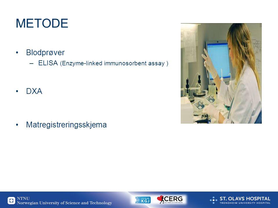 20 METODE Blodprøver –ELISA (Enzyme-linked immunosorbent assay ) DXA Matregistreringsskjema