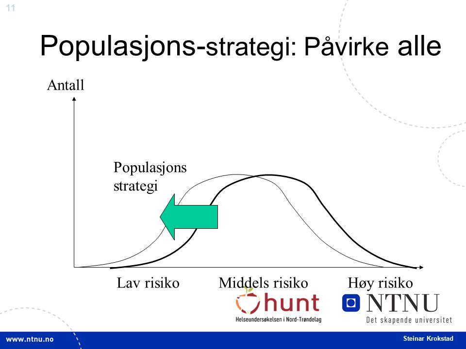 11 Steinar Krokstad Populasjons- strategi: Påvirke alle Antall Populasjons strategi Lav risiko Middels risiko Høy risiko