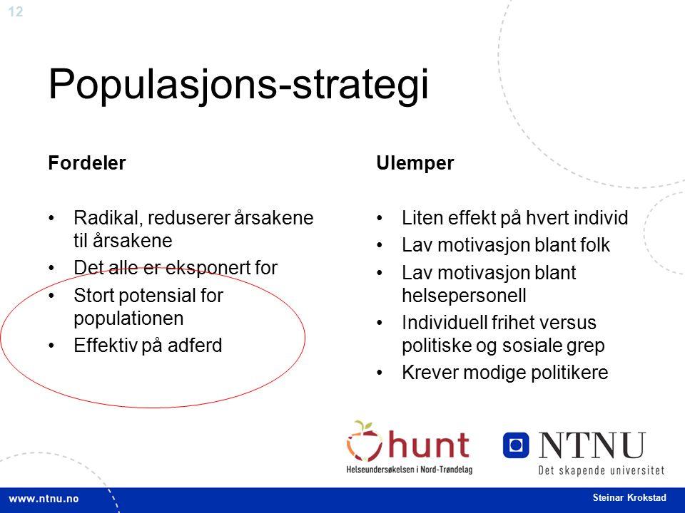 12 Steinar Krokstad Populasjons-strategi Fordeler Radikal, reduserer årsakene til årsakene Det alle er eksponert for Stort potensial for populationen