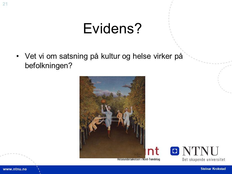 21 Steinar Krokstad Evidens? Vet vi om satsning på kultur og helse virker på befolkningen?