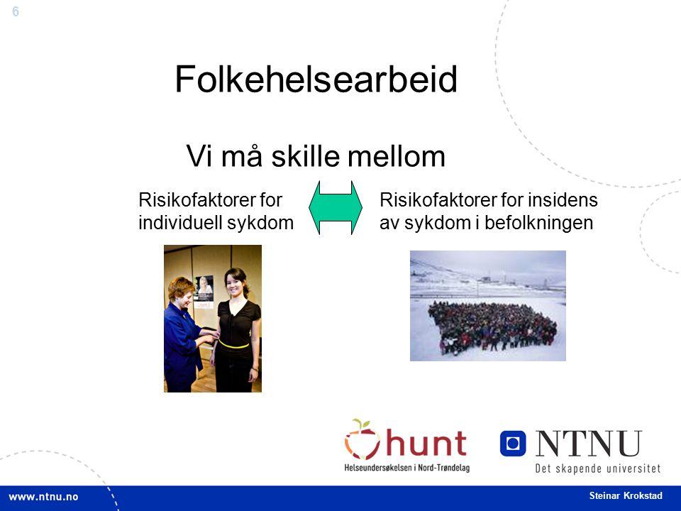 7 Steinar Krokstad Risikofaktorer for individuell sykdom Hvorfor fikk denne pasienten denne sykdommen på dette tidspunktet.