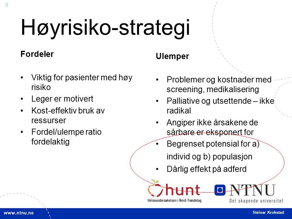9 Steinar Krokstad Høyrisiko-strategi Fordeler Viktig for pasienter med høy risiko Leger er motivert Kost-effektiv bruk av ressurser Fordel/ulempe rat