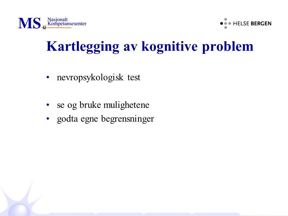 Kartlegging av kognitive problem nevropsykologisk test se og bruke mulighetene godta egne begrensninger