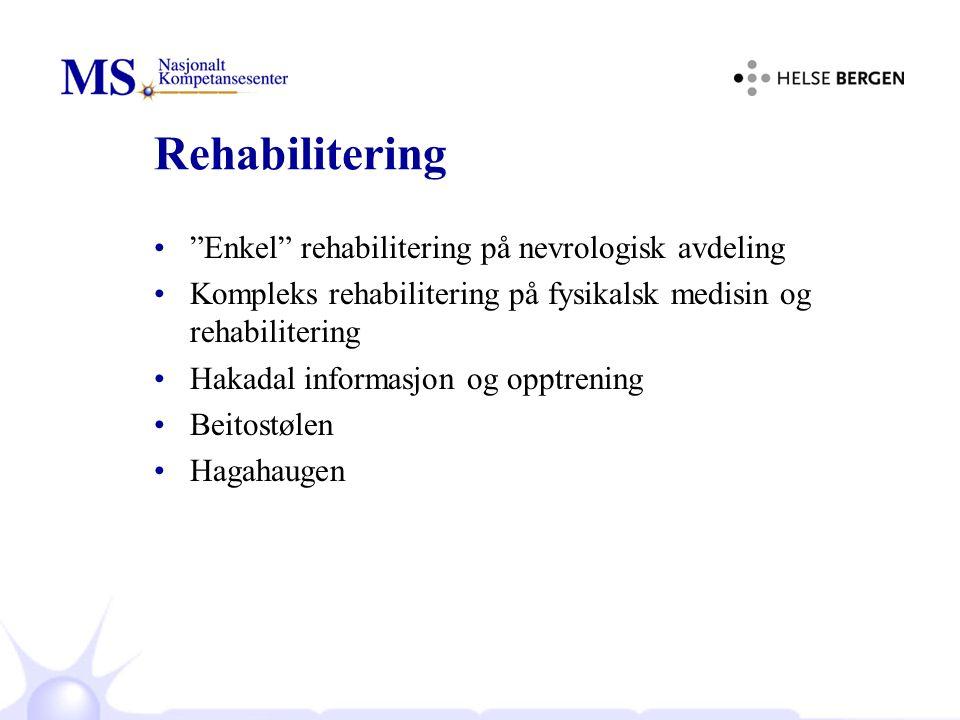 Rehabilitering Enkel rehabilitering på nevrologisk avdeling Kompleks rehabilitering på fysikalsk medisin og rehabilitering Hakadal informasjon og opptrening Beitostølen Hagahaugen