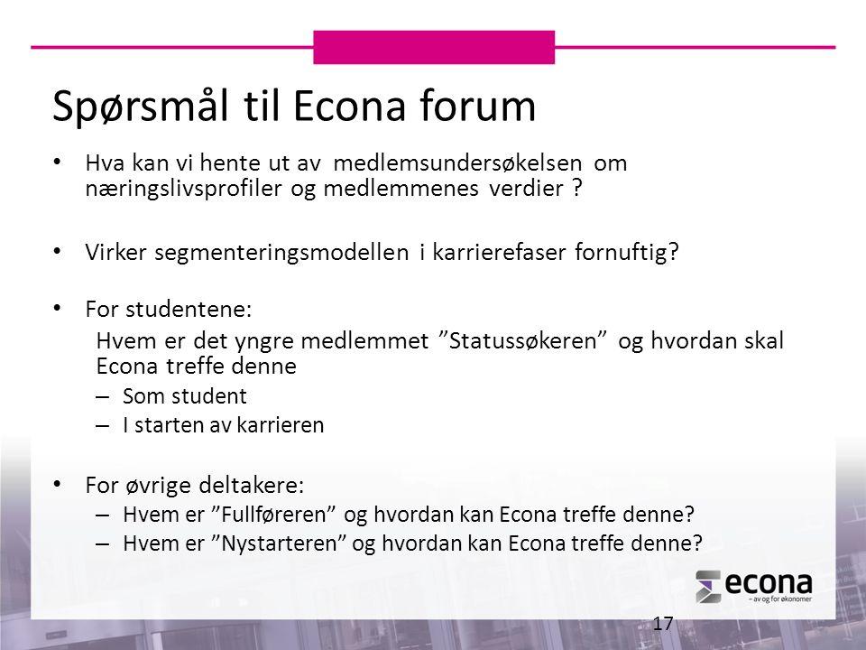 Spørsmål til Econa forum Hva kan vi hente ut av medlemsundersøkelsen om næringslivsprofiler og medlemmenes verdier ? Virker segmenteringsmodellen i ka