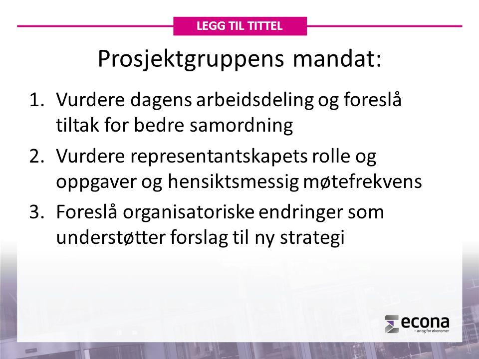 Prosjektgruppens mandat: 1.Vurdere dagens arbeidsdeling og foreslå tiltak for bedre samordning 2.Vurdere representantskapets rolle og oppgaver og hens