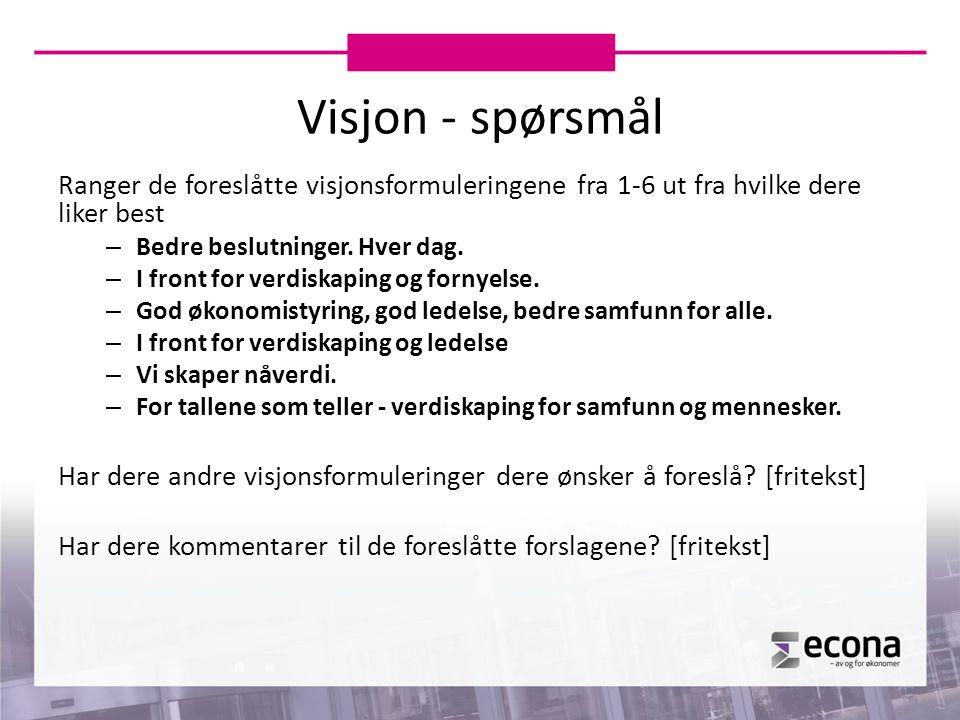 Visjon - spørsmål Ranger de foreslåtte visjonsformuleringene fra 1-6 ut fra hvilke dere liker best – Bedre beslutninger. Hver dag. – I front for verdi