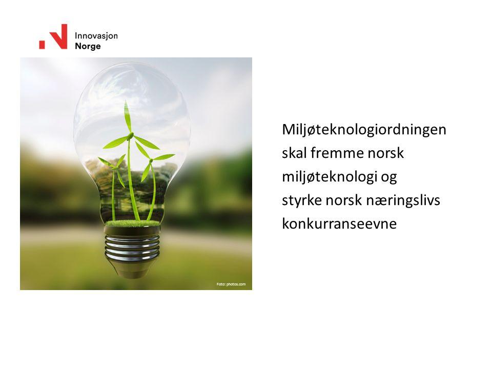 Miljøteknologiordningen skal fremme norsk miljøteknologi og styrke norsk næringslivs konkurranseevne Foto: photos.com