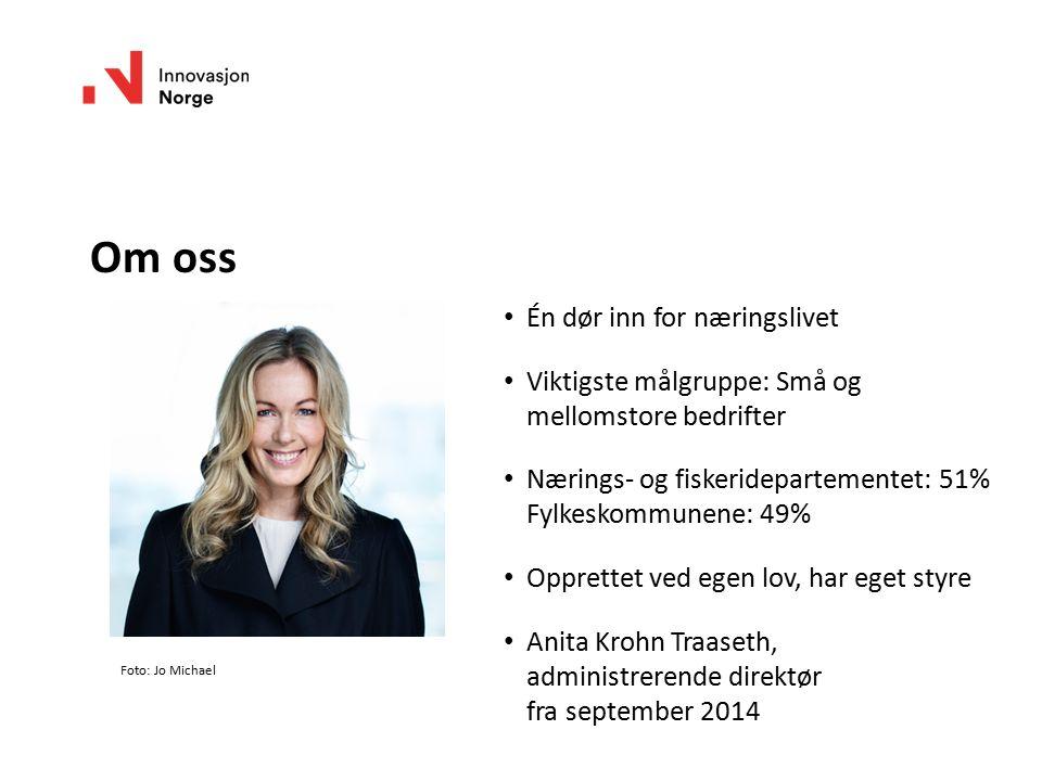 Foto: Jo Michael Én dør inn for næringslivet Viktigste målgruppe: Små og mellomstore bedrifter Nærings- og fiskeridepartementet: 51% Fylkeskommunene: