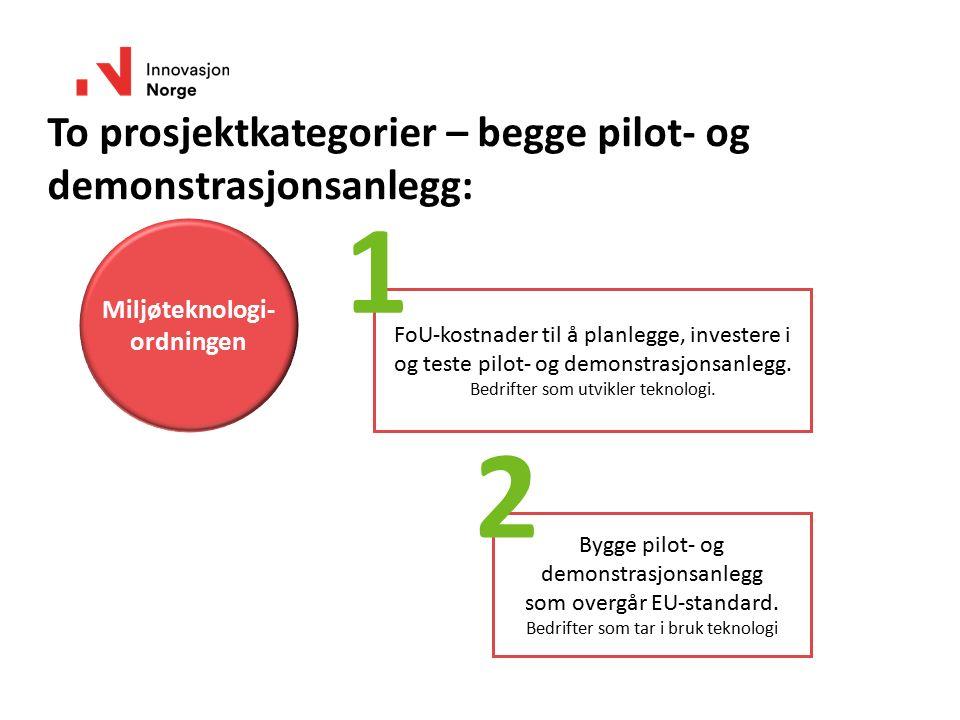To prosjektkategorier – begge pilot- og demonstrasjonsanlegg: Miljøteknologi- ordningen FoU-kostnader til å planlegge, investere i og teste pilot- og