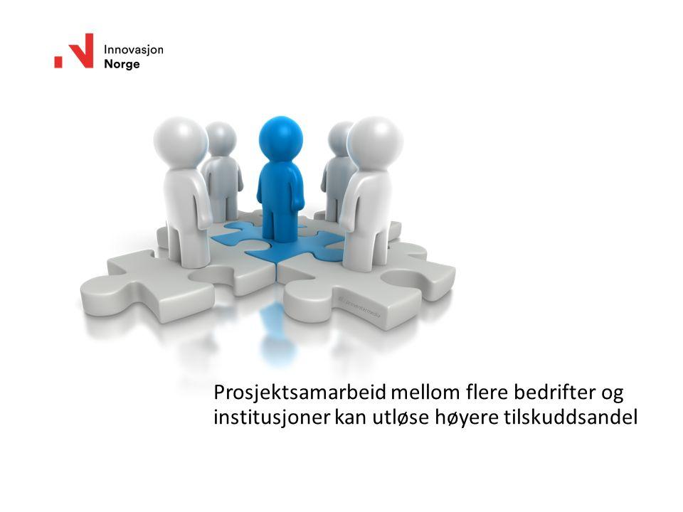 Prosjektsamarbeid mellom flere bedrifter og institusjoner kan utløse høyere tilskuddsandel Ill.: presentermedia