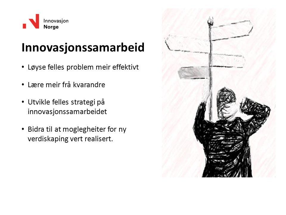 Innovasjonssamarbeid Løyse felles problem meir effektivt Lære meir frå kvarandre Utvikle felles strategi på innovasjonssamarbeidet Bidra til at mogleg