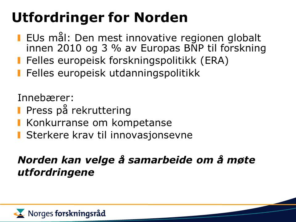 Utfordringer for Norden EUs mål: Den mest innovative regionen globalt innen 2010 og 3 % av Europas BNP til forskning Felles europeisk forskningspolitikk (ERA) Felles europeisk utdanningspolitikk Innebærer: Press på rekruttering Konkurranse om kompetanse Sterkere krav til innovasjonsevne Norden kan velge å samarbeide om å møte utfordringene