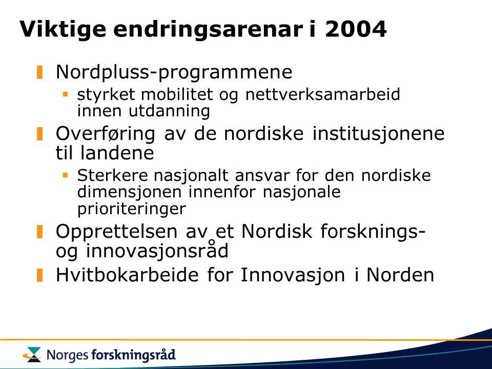Viktige endringsarenar i 2004 Nordpluss-programmene  styrket mobilitet og nettverksamarbeid innen utdanning Overføring av de nordiske institusjonene til landene  Sterkere nasjonalt ansvar for den nordiske dimensjonen innenfor nasjonale prioriteringer Opprettelsen av et Nordisk forsknings- og innovasjonsråd Hvitbokarbeide for Innovasjon i Norden