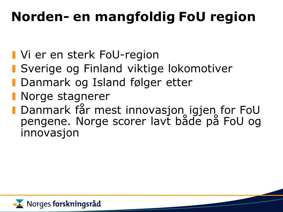 Norden- en mangfoldig FoU region Vi er en sterk FoU-region Sverige og Finland viktige lokomotiver Danmark og Island følger etter Norge stagnerer Danmark får mest innovasjon igjen for FoU pengene.