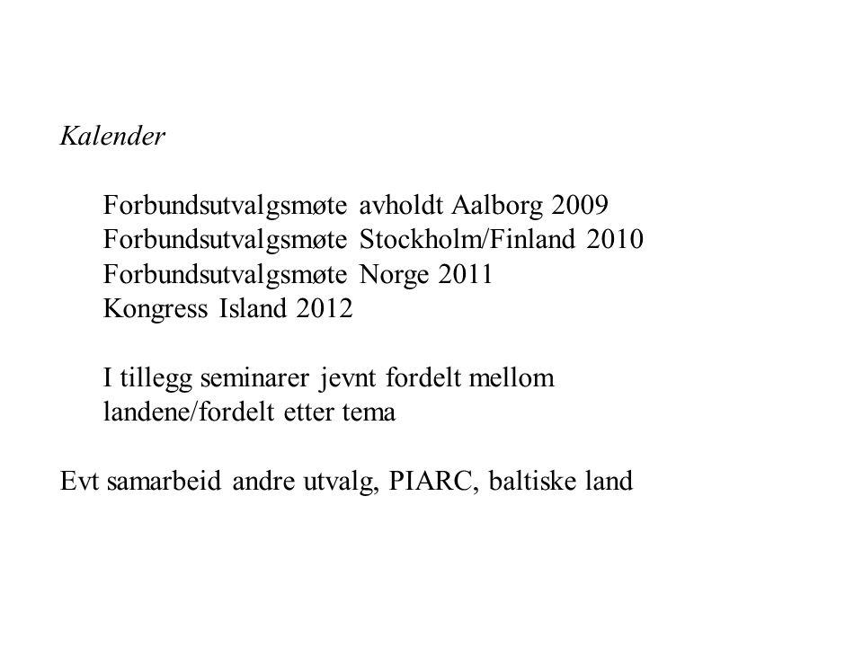 Kalender Forbundsutvalgsmøte avholdt Aalborg 2009 Forbundsutvalgsmøte Stockholm/Finland 2010 Forbundsutvalgsmøte Norge 2011 Kongress Island 2012 I tillegg seminarer jevnt fordelt mellom landene/fordelt etter tema Evt samarbeid andre utvalg, PIARC, baltiske land