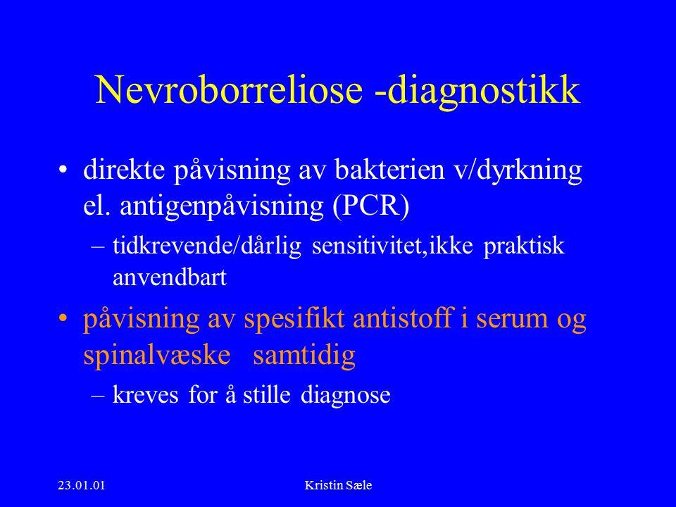23.01.01Kristin Sæle Nevroborreliose -diagnostikk direkte påvisning av bakterien v/dyrkning el.