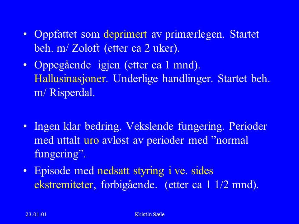 23.01.01Kristin Sæle Oppfattet som deprimert av primærlegen.