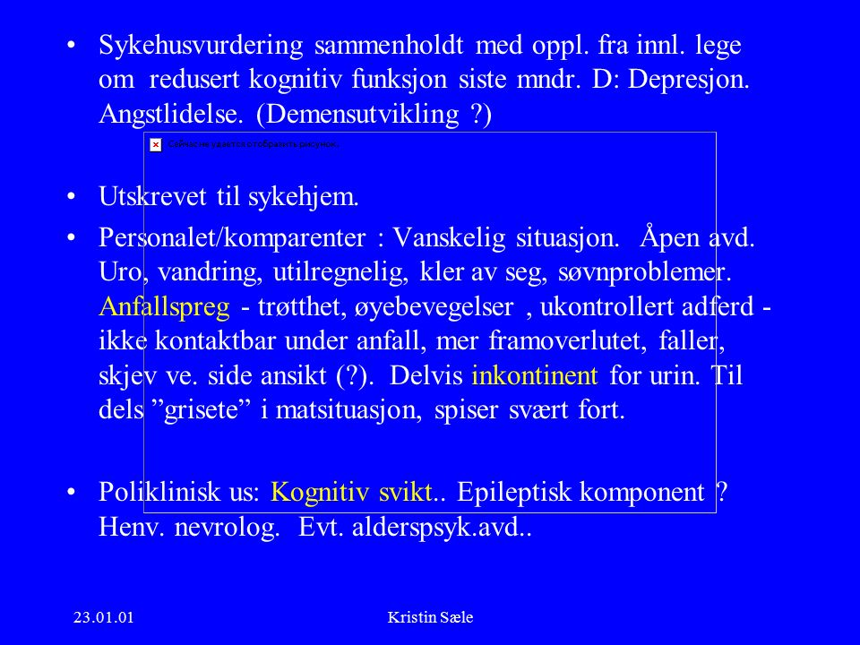23.01.01Kristin Sæle Nevroborreliose - behandling Terapianbefaling fra SLK 1999: –benzylpenicillin 3 g x 3-4 i 2 uker alt.