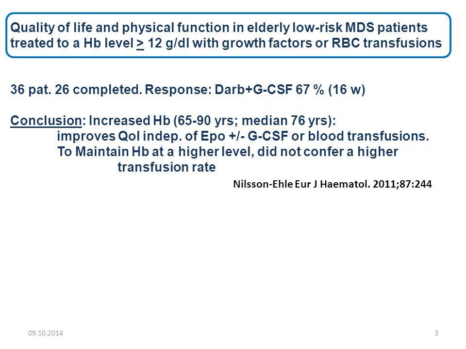 Blodtransfusjoner: Ulemper: Antistoffdannelser: (stamcelletransplantasjon) Transfusjonsoverføring av infeksjoner Jern-akkumulering Økt jern-opphopning ved MDS uten/ før blodtransfusjoner: 1 E blod: 200-250 mg jern Daglig tap: 1-2 mg Daglig inntak: 1-2 mg Hvis SAG 4 E / mnd i 2 år: ca.