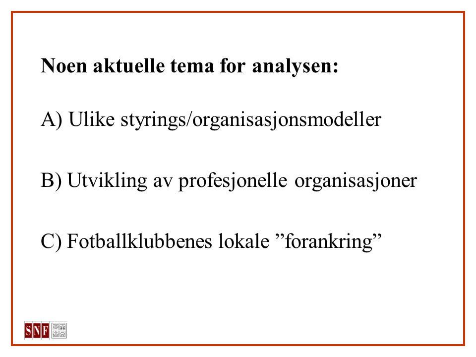 """Noen aktuelle tema for analysen: A) Ulike styrings/organisasjonsmodeller B) Utvikling av profesjonelle organisasjoner C) Fotballklubbenes lokale """"fora"""