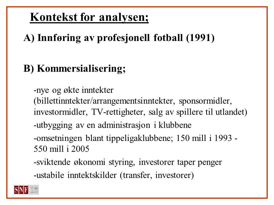 Kontekst for analysen; A) Innføring av profesjonell fotball (1991) B) Kommersialisering; -nye og økte inntekter (billettinntekter/arrangementsinntekte