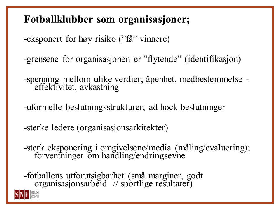 """Fotballklubber som organisasjoner; -eksponert for høy risiko (""""få"""" vinnere) -grensene for organisasjonen er """"flytende"""" (identifikasjon) -spenning mell"""