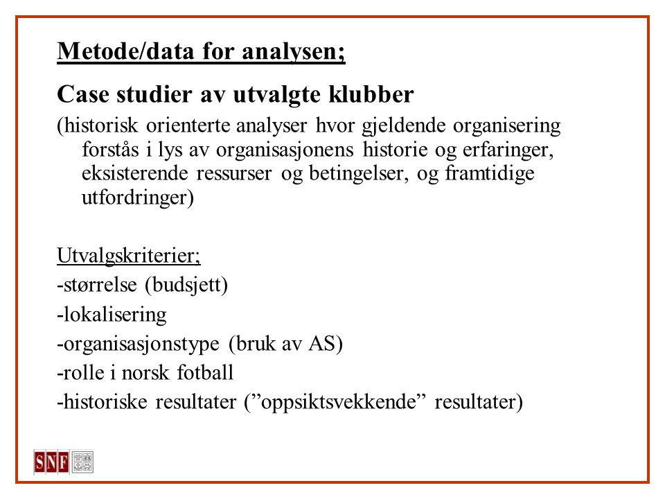 Metode/data for analysen; Case studier av utvalgte klubber (historisk orienterte analyser hvor gjeldende organisering forstås i lys av organisasjonens