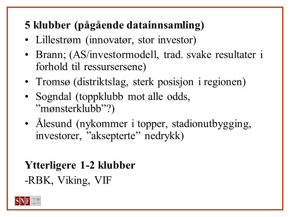 5 klubber (pågående datainnsamling) Lillestrøm (innovatør, stor investor) Brann; (AS/investormodell, trad. svake resultater i forhold til ressursersen