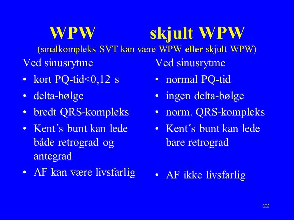 22 WPW skjult WPW (smalkompleks SVT kan være WPW eller skjult WPW) Ved sinusrytme kort PQ-tid<0,12 s delta-bølge bredt QRS-kompleks Kent´s bunt kan lede både retrograd og antegrad AF kan være livsfarlig Ved sinusrytme normal PQ-tid ingen delta-bølge norm.