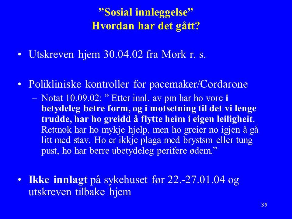 35 Sosial innleggelse Hvordan har det gått. Utskreven hjem 30.04.02 fra Mork r.