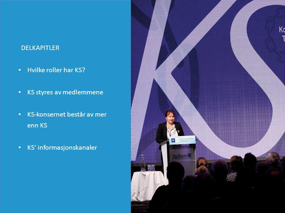Hvilke roller har KS? KS styres av medlemmene KS-konsernet består av mer enn KS KS' informasjonskanaler DELKAPITLER