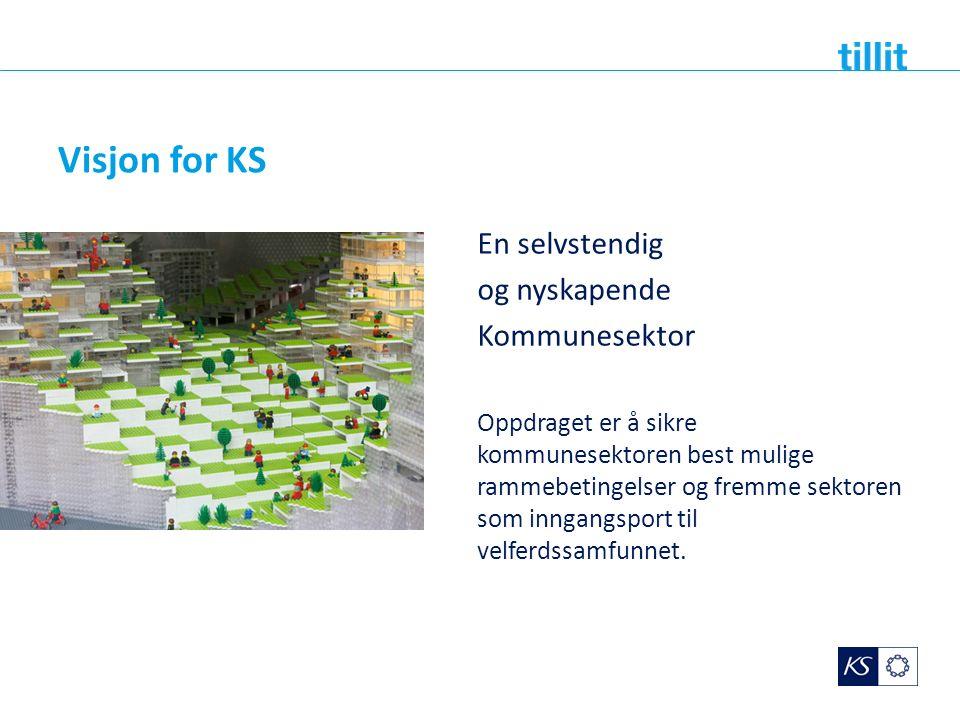 Visjon for KS En selvstendig og nyskapende Kommunesektor Oppdraget er å sikre kommunesektoren best mulige rammebetingelser og fremme sektoren som inng