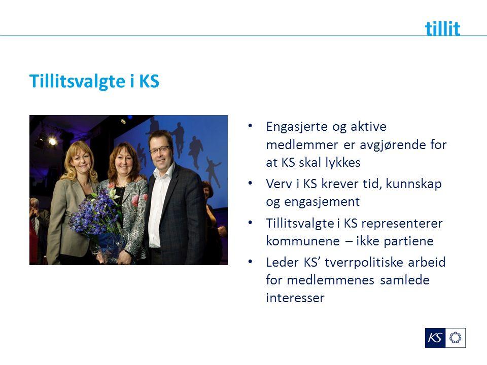 Tillitsvalgte i KS Engasjerte og aktive medlemmer er avgjørende for at KS skal lykkes Verv i KS krever tid, kunnskap og engasjement Tillitsvalgte i KS