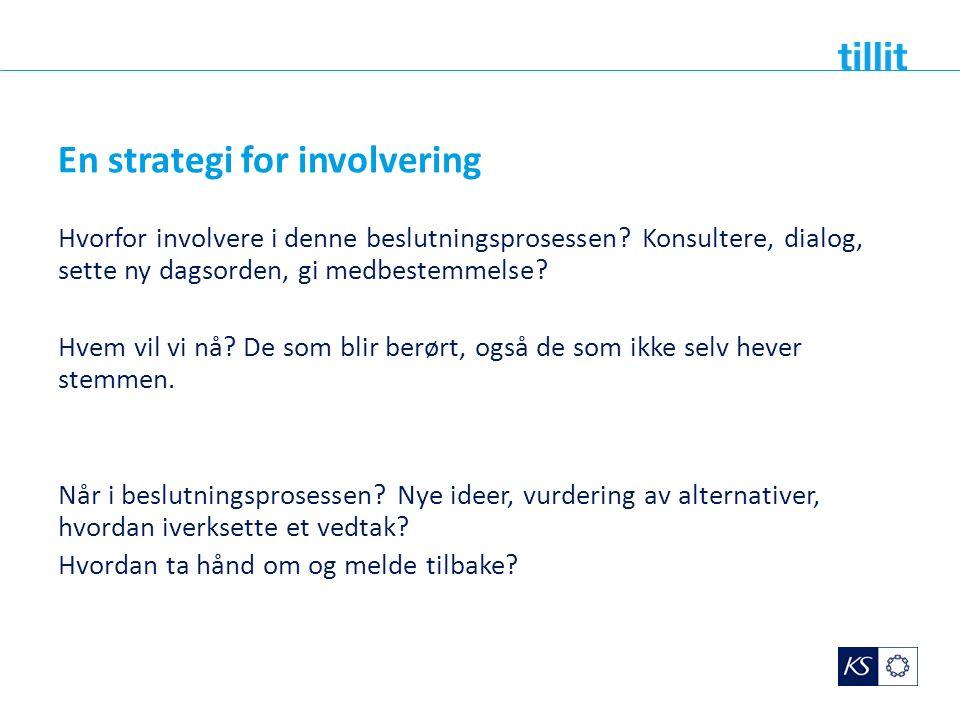 En strategi for involvering Hvorfor involvere i denne beslutningsprosessen? Konsultere, dialog, sette ny dagsorden, gi medbestemmelse? Hvem vil vi nå?