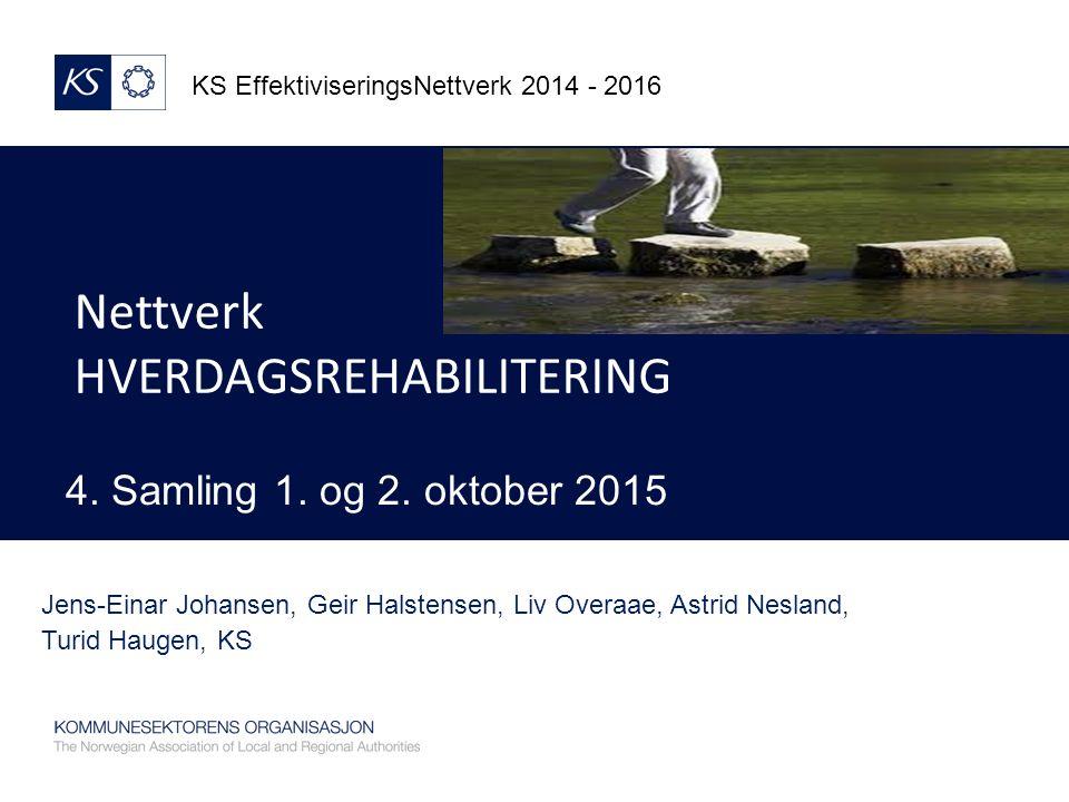 Nettverk HVERDAGSREHABILITERING KS EffektiviseringsNettverk 2014 - 2016 4.