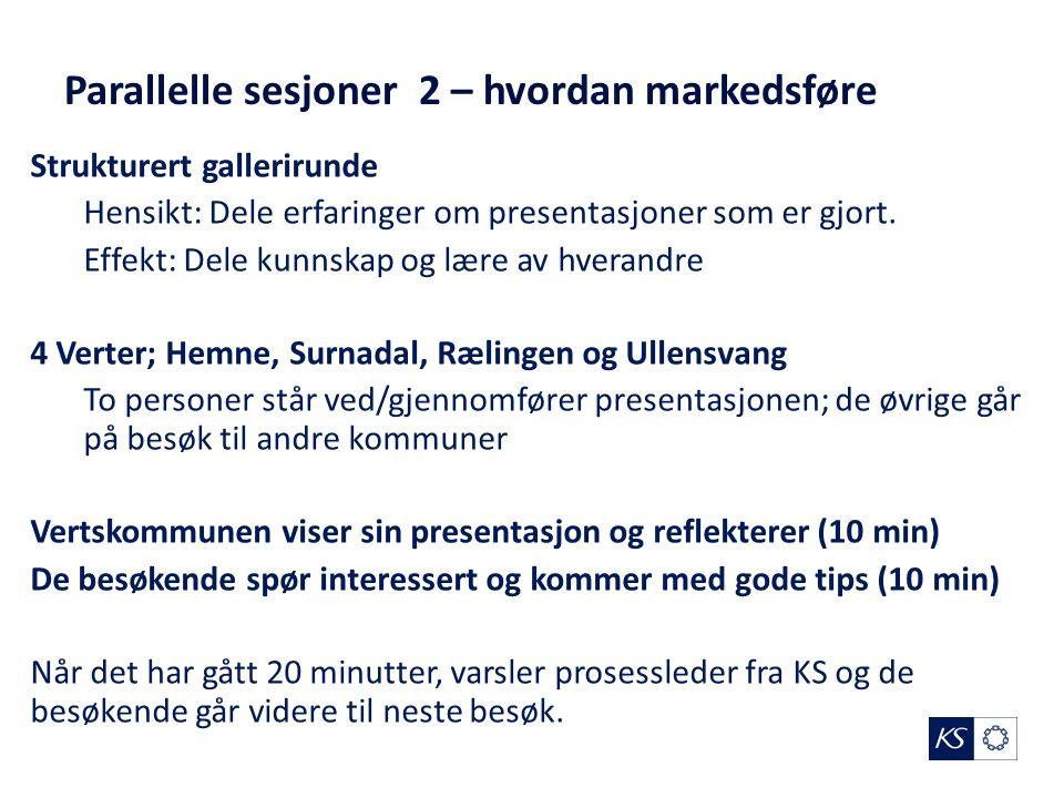 Parallelle sesjoner 2 – hvordan markedsføre Strukturert gallerirunde Hensikt: Dele erfaringer om presentasjoner som er gjort.