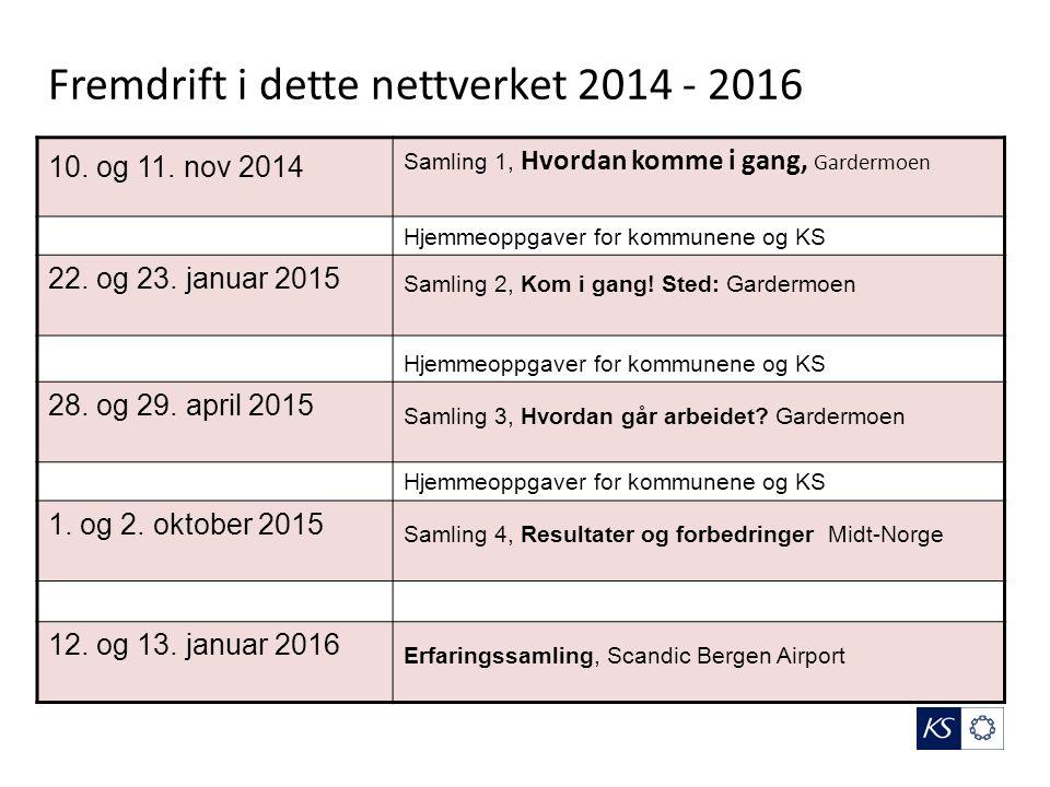 Fremdrift i dette nettverket 2014 - 2016 10. og 11.