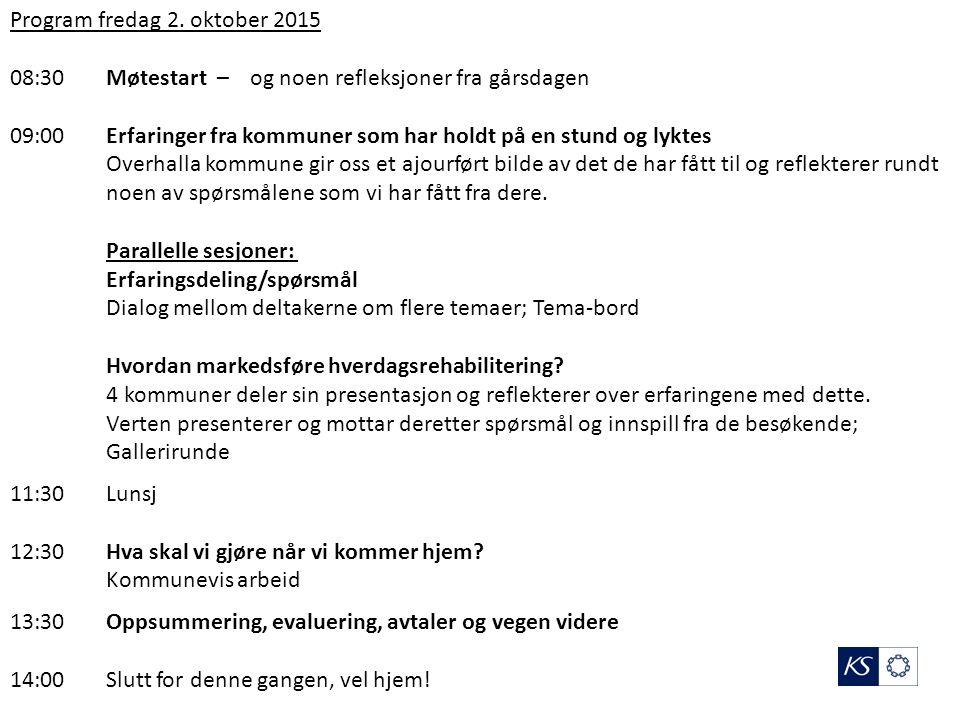 Vegen videre - Konklusjoner – Hjemmearbeid Neste samling: 12.