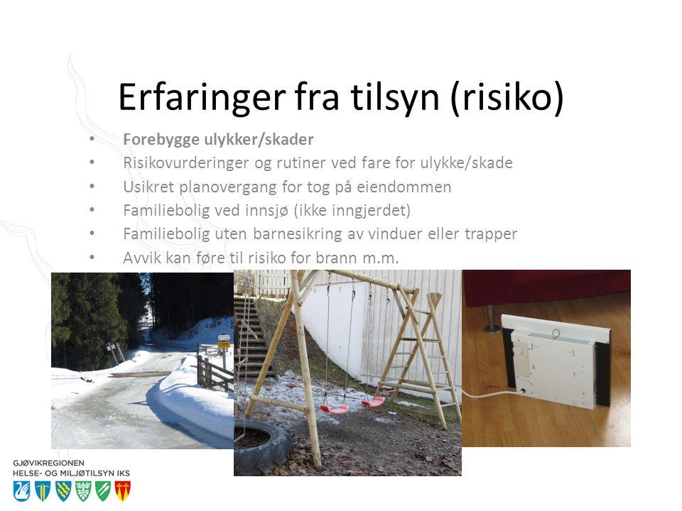 Erfaringer fra tilsyn (risiko) Forebygge ulykker/skader Risikovurderinger og rutiner ved fare for ulykke/skade Usikret planovergang for tog på eiendom