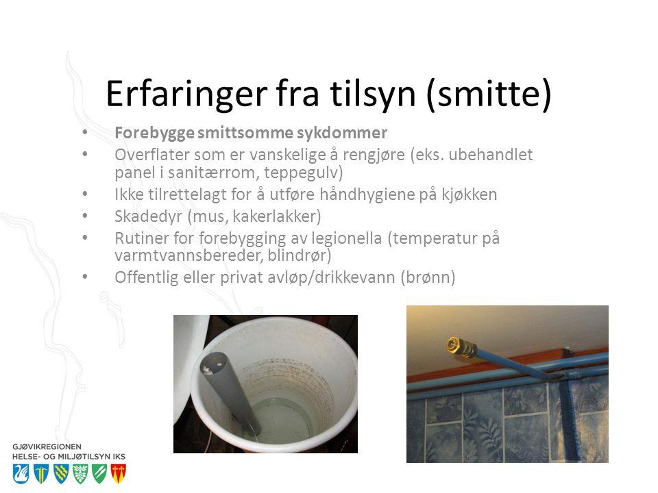 Erfaringer fra tilsyn (smitte) Forebygge smittsomme sykdommer Overflater som er vanskelige å rengjøre (eks. ubehandlet panel i sanitærrom, teppegulv)