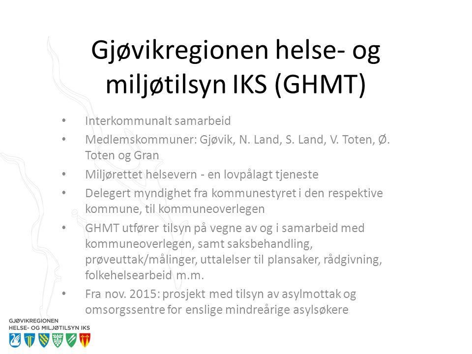 Gjøvikregionen helse- og miljøtilsyn IKS (GHMT) Interkommunalt samarbeid Medlemskommuner: Gjøvik, N. Land, S. Land, V. Toten, Ø. Toten og Gran Miljøre