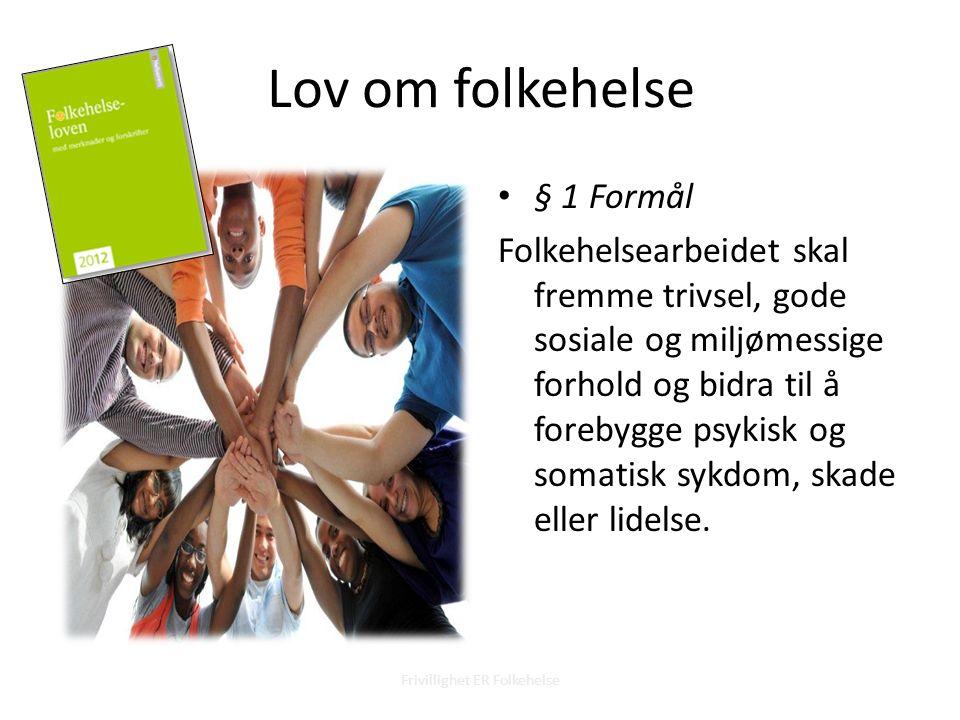 § 1 Formål Folkehelsearbeidet skal fremme trivsel, gode sosiale og miljømessige forhold og bidra til å forebygge psykisk og somatisk sykdom, skade eller lidelse.